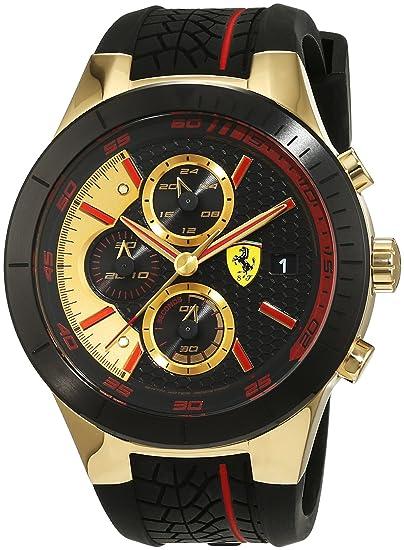 Ferrari 0830298- Reloj analógico de pulsera para hombre (cuarzo, correa de silicona)
