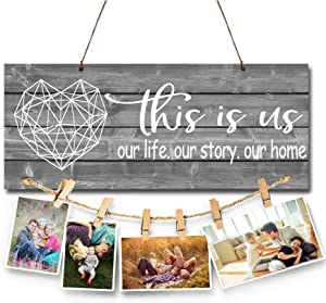 BEROSS This Is Us Wall Art Décor Photo Holder Rustic Home Sign Décor with Clips and Twine for Picture Hanging Housewarming Gifts for New Homeowners