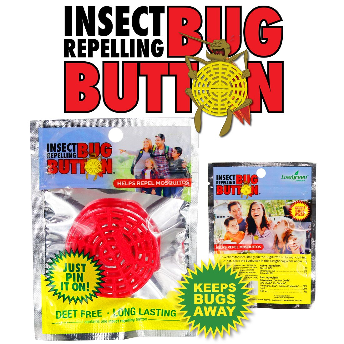 BUG BUTTON - All Natural Mosquito Repelling Badge - Guaranteed to Work - No Messy Lotions, Sprays, or Plastic - Fast & Easy! 30 Day Money Back Guarantee (200) by Superband (Image #9)