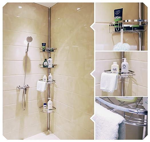 Lifewit Tension Shower Caddy 4 Tier Adjustable Bathroom Constant Corner Pole For