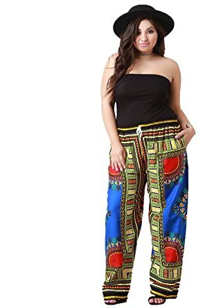 6ab965a6e6c African Print Wide Leg Drawstring Pants at Amazon Women s Clothing store