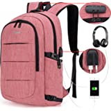 Tzowla Business Laptop Backpack Water Resistant Anti-Theft College Backpack with USB Charging Port and Lock 15.6 Inch Computer Backpacks for Women Girls, Casual Hiking Travel Daypack (A-PunchRed)