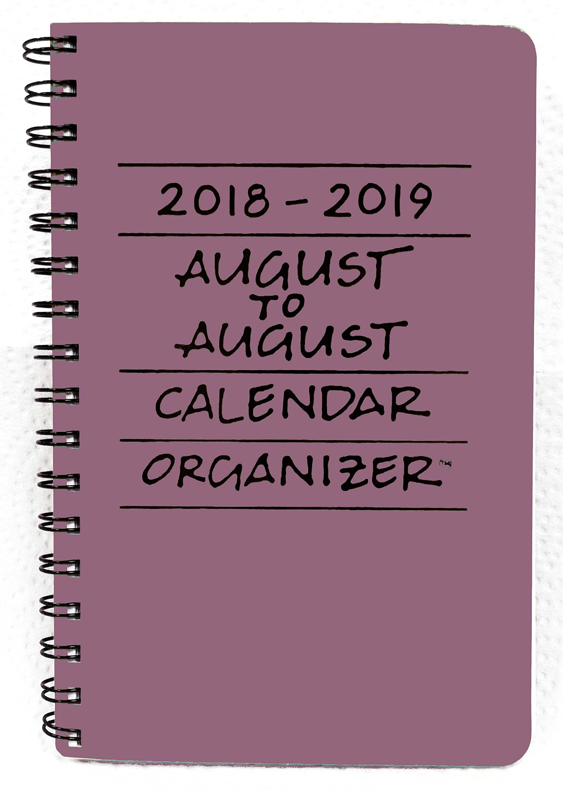 2018-2019 August to August Calendar Organizer- Plum