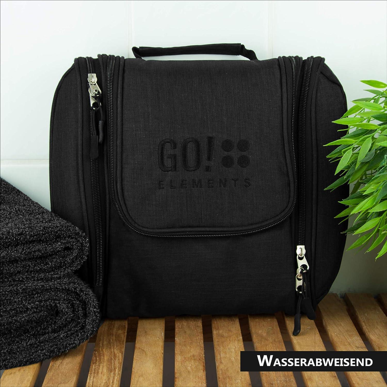 GO!elements/® Kulturbeutel Unisex Kulturtasche zum Aufh/ängen Herren /& Damen Grau Kosmetiktasche gro/ß M/änner Frauen f/ür Koffer /& Handgep/äck Waschtasche Reise-Tasche