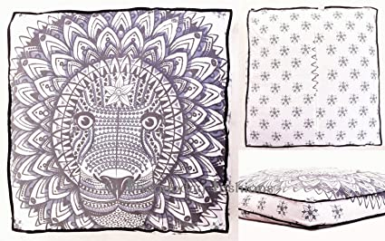 Indian Rasta León Mandala suelo almohada cuadrada sofá grande funda de cojín Algodón puf Otomano asiento