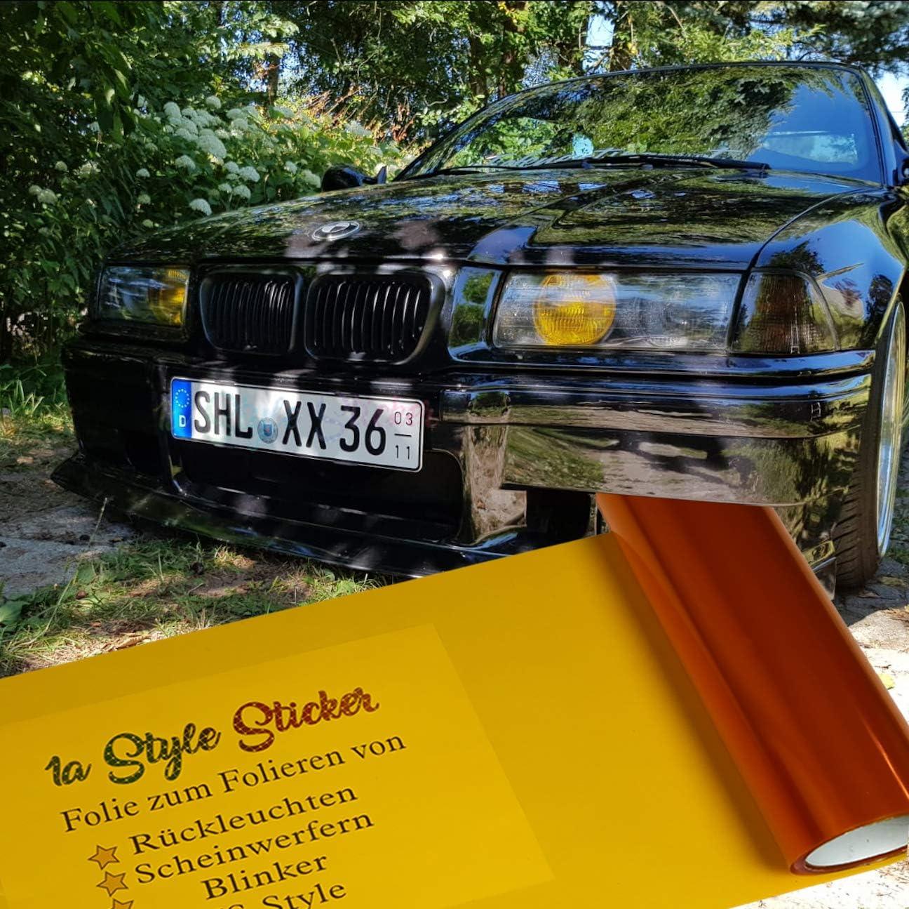 Scheinwerfer Folie Nebelscheinwerfer-Folierung ORANGE US-Style Car Angel Eyes E36 E46 Lichter Auto Tuning