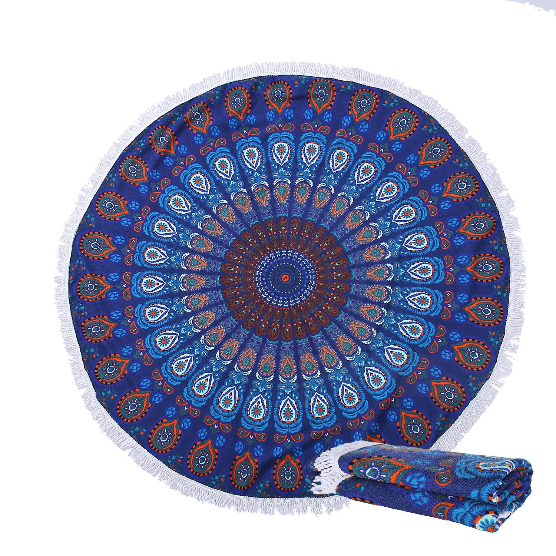 NovForth Oversized Round Beach Towel Blanket Indian Mandala Tapestry Soft Beach Mat Yoga Mat Sunscreen Shawl Wrap Skirt Tassels Table Cover, Multi-Purpose Towel 60''