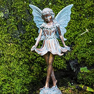 BRECK'S Dancing Fairy Statue - Add This Fun Loving Sprite and Bring Your Garden to Life!
