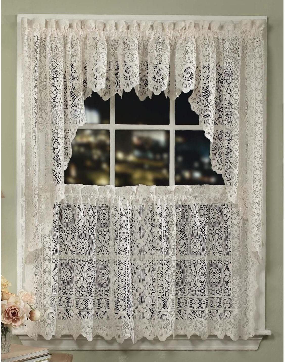 LORRAINE HOME FASHIONS Hopewell Lace Window Valance, 58-Inch by 12-Inch, Cream