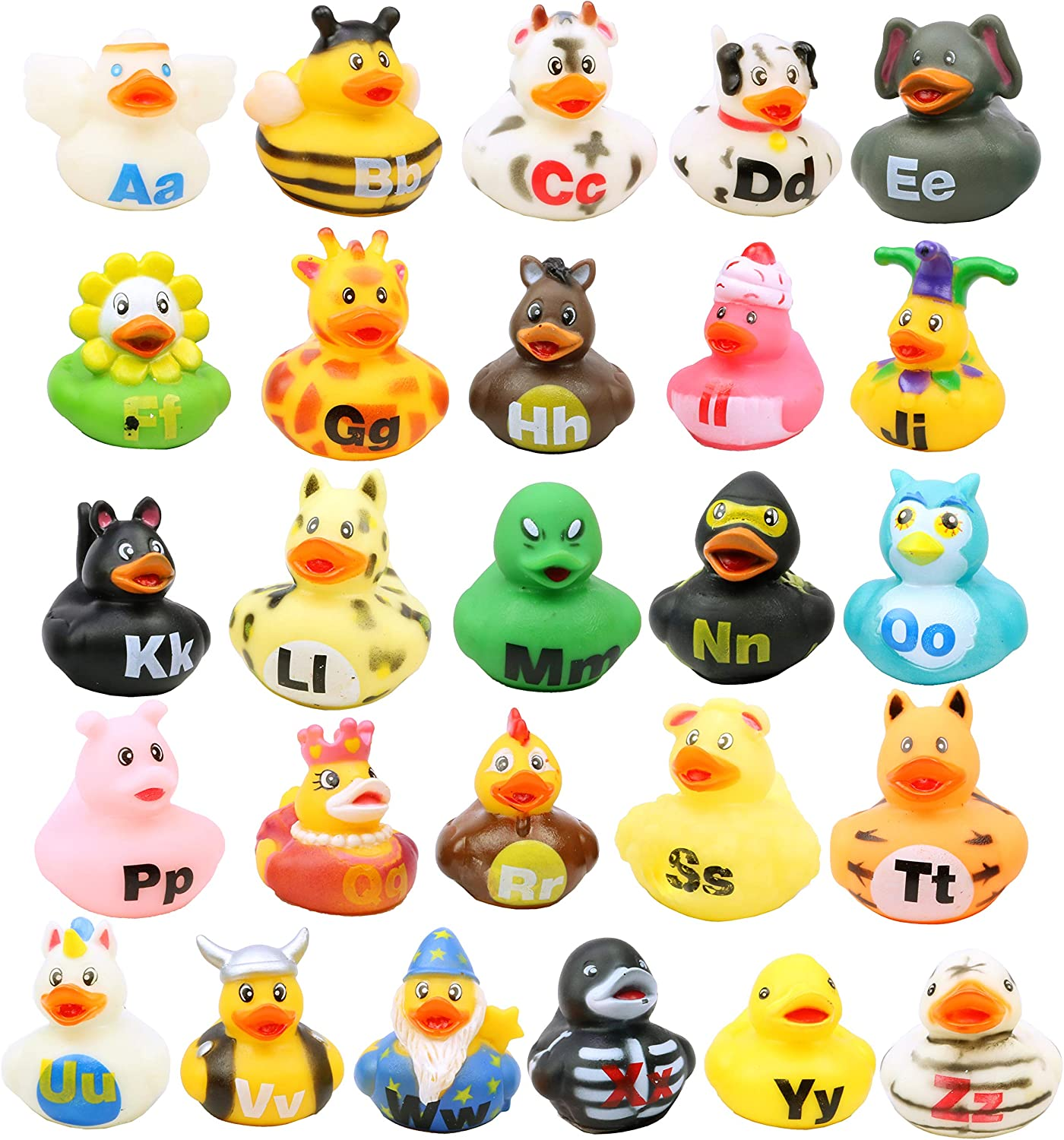 26 Pack Rubber Duckies Educational Childrens Learning Activities ABC Rubber Duckies for Kids and Toddlers SN Incorp Mini Bath Toys Ducky Gifts Alphabet Rubber Ducks