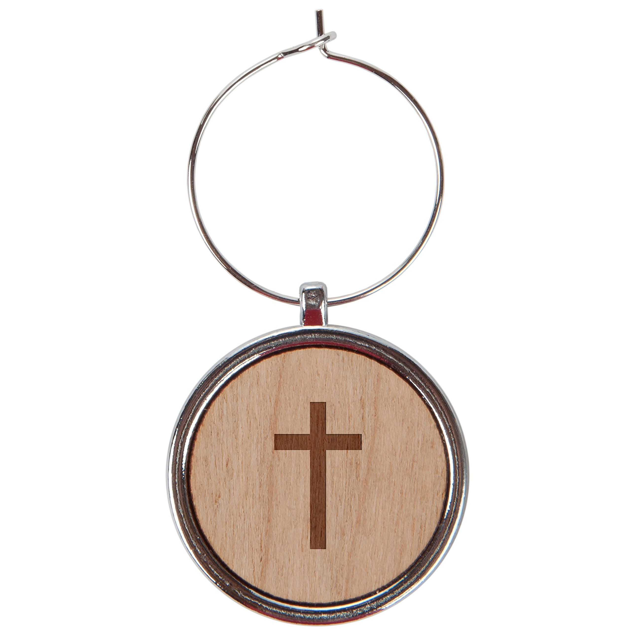 Christian Cross Wood Wine Glass Charms Set Of 6-1 Inch Laser Engraved Wine Glass Charms For Stemmed Wine Glasses - Wine Glass Charm Gift