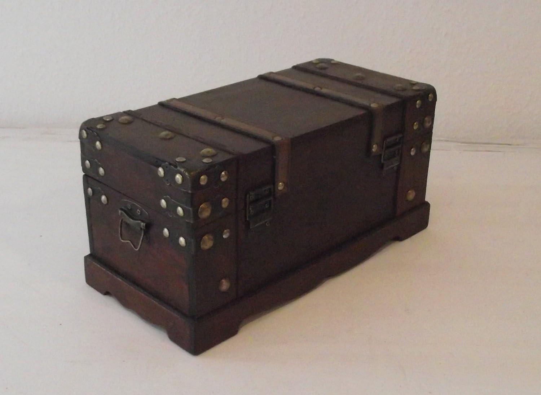 Leder Truhe Schatztruhe Holz AAF Nommel Holztruhe Antikdesign Gr/ö/ße L 37x17x18cm