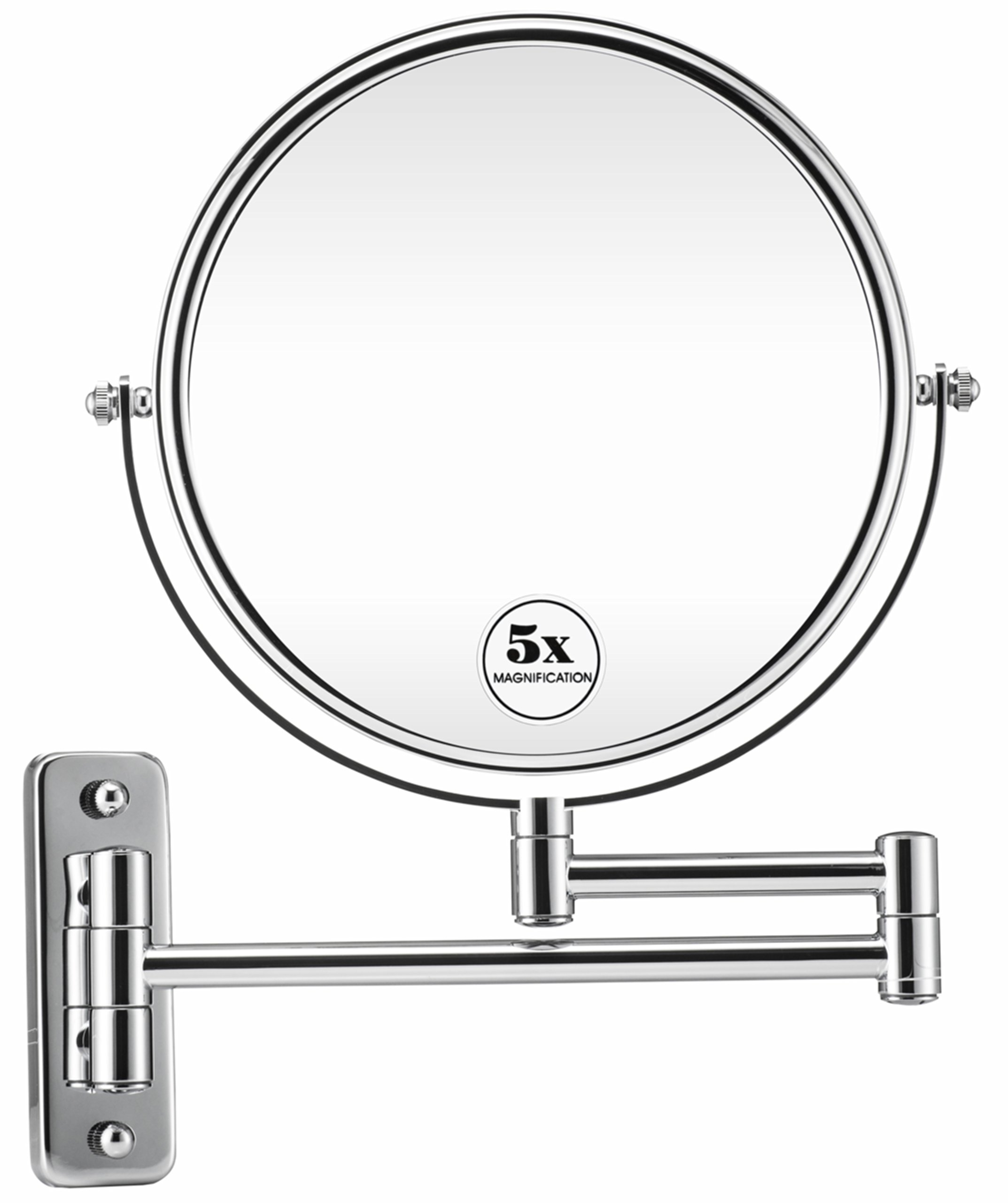 Gloriastar Wall Mount Makeup Mirror - 1x/5x Magnification 8-Inch Two-Sided Cosmetic Mirror Chrome Finish