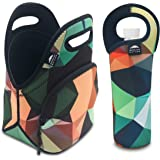 Nordic By Nature Neoprene Lunch Bag For Women, Men & Kids Extra Thick Insulated Neoprene Lunch Tote With Water Bottle Sleeve