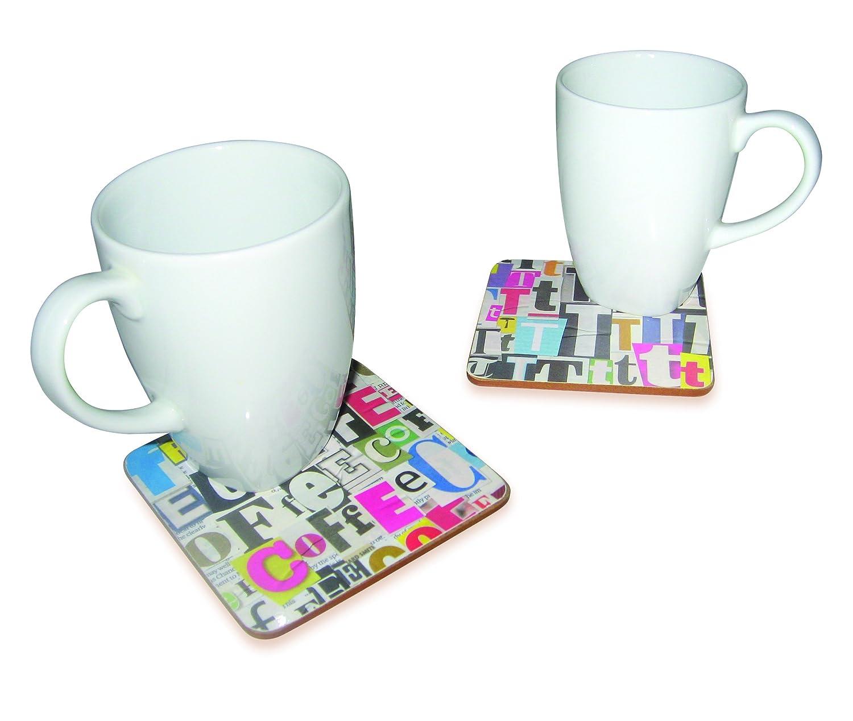 (Tea) - Ransom note novelty coasters - SET OF 5 (Tea)   B009XS9I6M