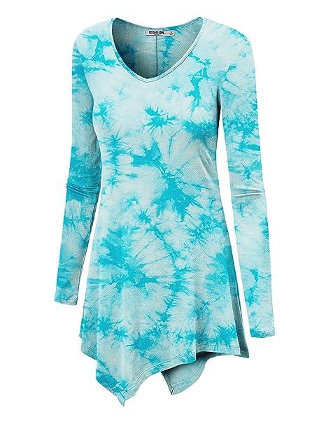4485ede56a0 WT1062 Womens V Neck Long Sleeve Tie Dye Handkerchief Hem Tunic S AQUA