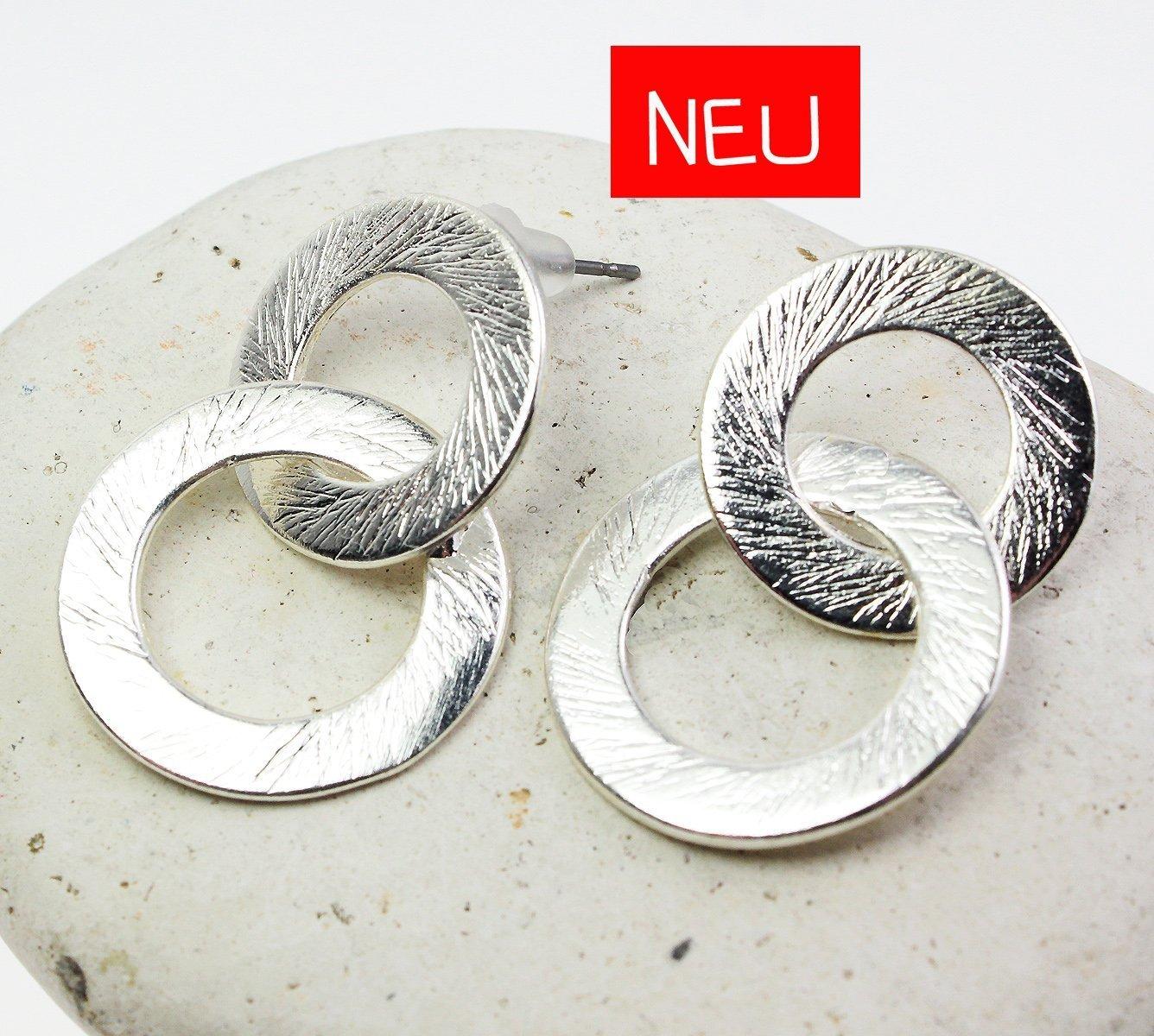 Ohrstecker Farbe: Silber Ohrringe matt Ringe Anhänger gebürstet schraffiert versilbert modern grafisch rund