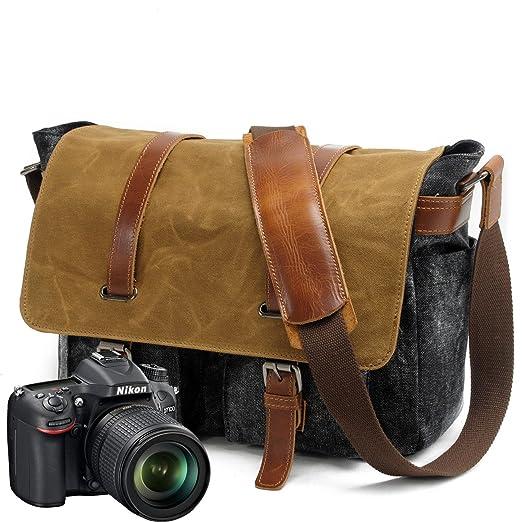Peacechaos Messenger Bag Leather Canvas Shoulder Bookbag Laptop Bag + Dslr Slr Camera Canvas Shoulder Bag ¡