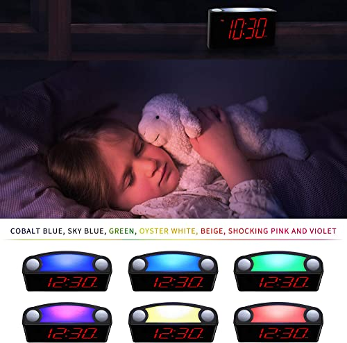 Rocam Home LED Digital Alarm Clock – 6.5 Large Red Display, Loud Alarm, 7 Colored Night Light, Snooze, Dimmer, Dual USB Charger Ports, Battery Backup, 12 24 Hours for Bedrooms, Kids, Heavy Sleepers
