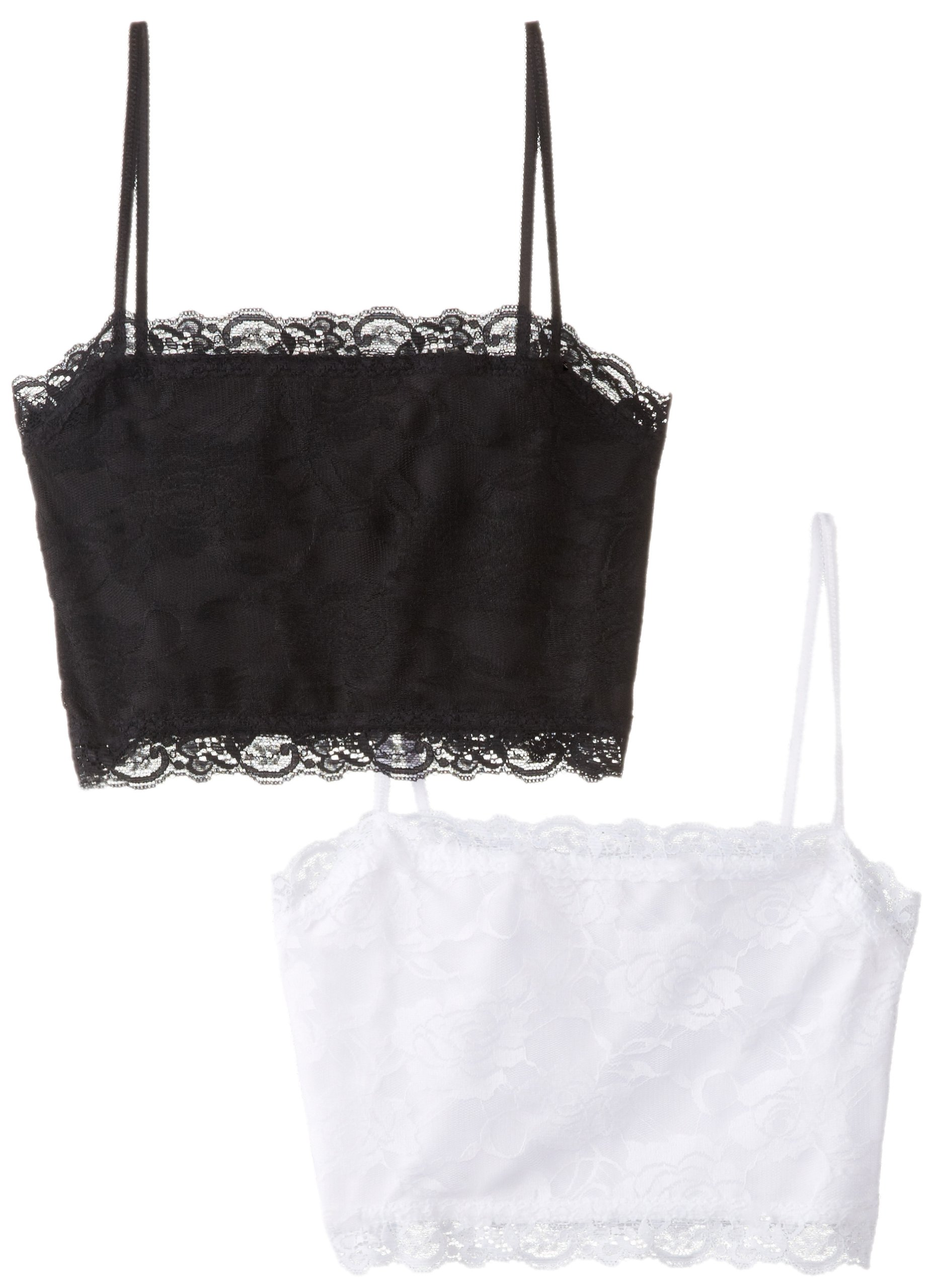 PURE STYLE Girlfriends Camiflage 2-Pack Lined Stretch Lace Half Camisole, Black/White, Large
