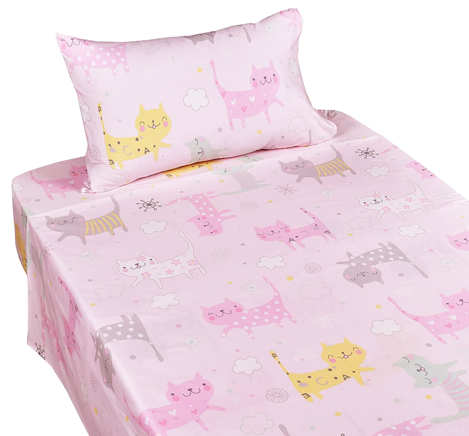 J-pinno Kids Boy Girl Cute Kitty Cats Mouse Twin Sheet Set for Kids Boy Girl Children,100% Cotton, Flat Sheet + Fitted Sheet + Pillowcase Bedding Set (cat)