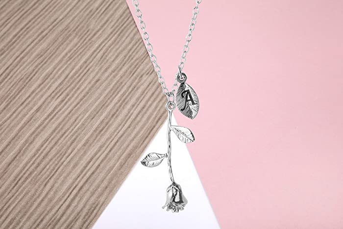 92a3d0eadce6 Silver plated rose flower personalised initial necklace pendant on a silver  coloured chain: Amazon.co.uk: Handmade