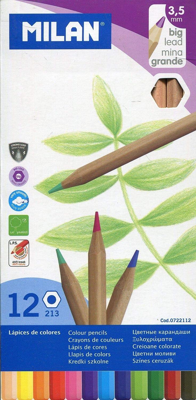 Milan 0722112 - Pack de 12 lápices de colores, mina grande: Amazon.es: Hogar