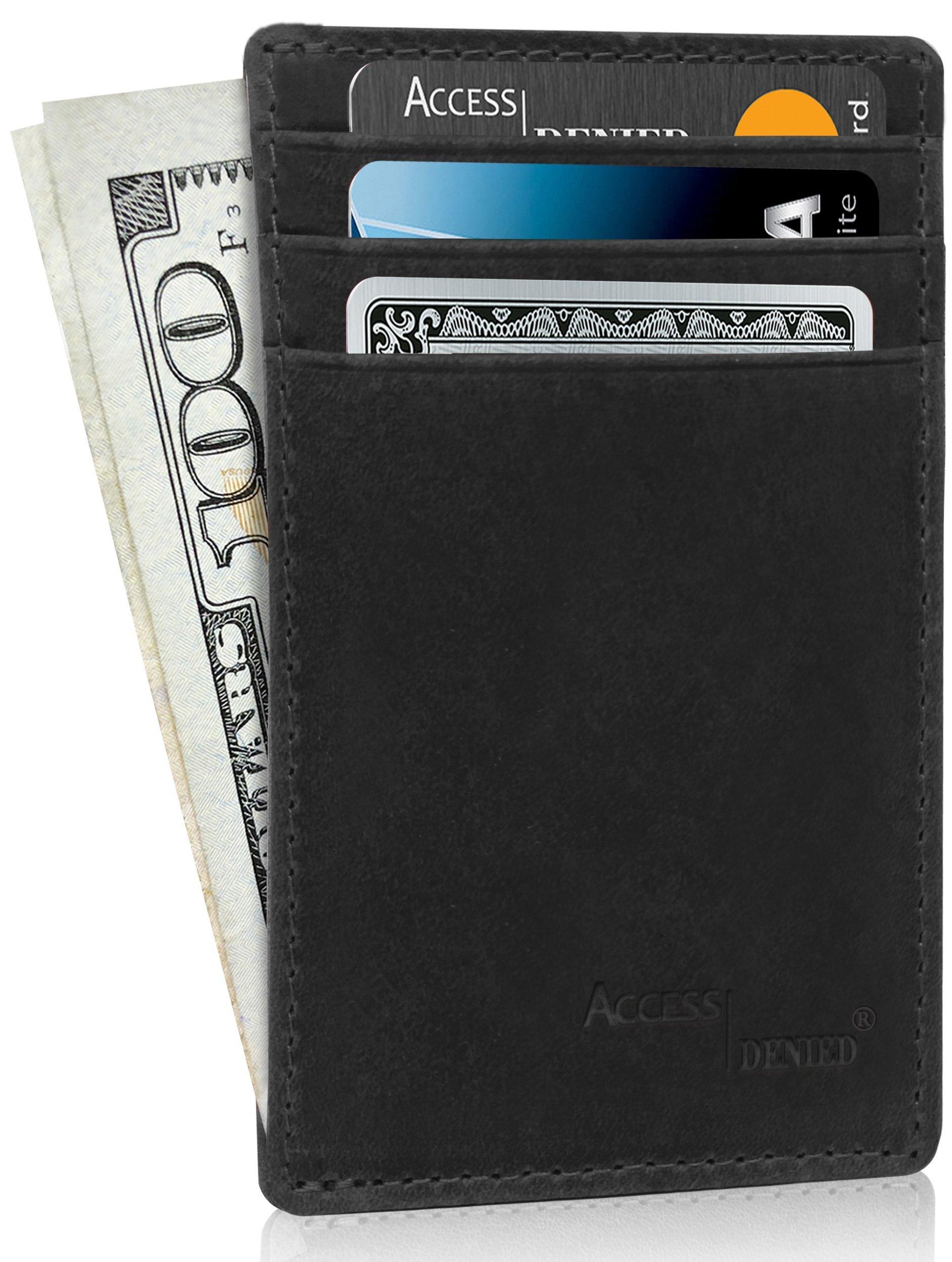 Slim Minimalist Wallets For Men - Small Leather Credit Card Holder RFID Blocking