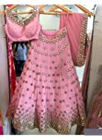 Kaavi Fab Banglori Silk Pink Thread Work Lehenga Choli