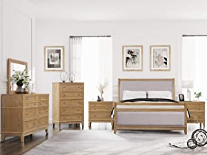 SOFTSEA 6-Piece Furniture Set for Bedroom, Modern Bedroom Sets with Solid Wood Bed Frame with 4 Drawers, 2 Nightstands, 6-Drawer Double Dresser, 6-Drawer Chest and Mirror, Queen Size