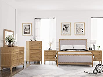 Amazon Com Softsea 6 Piece Furniture Set For Bedroom Modern Bedroom Sets With Solid Wood Bed Frame With 4 Drawers 2 Nightstands 6 Drawer Double Dresser 6 Drawer Chest And Mirror Queen Size Furniture Decor