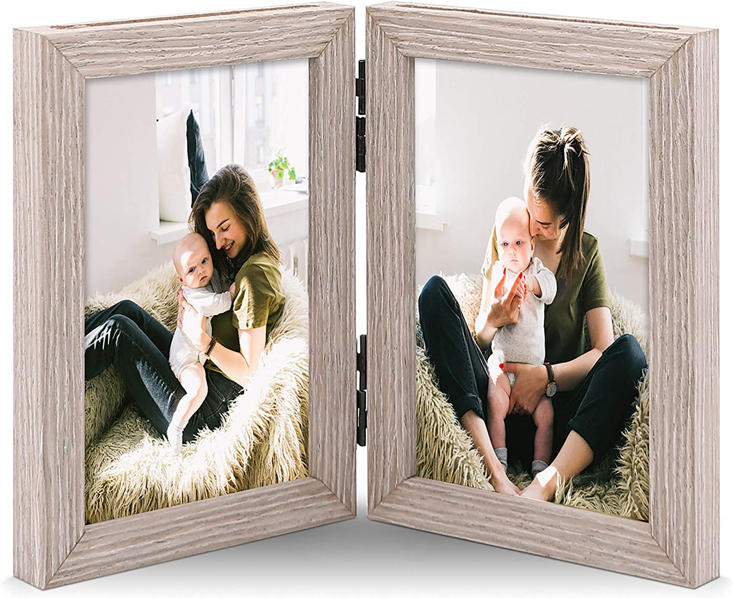 JD Concept Double 4x6 Nature-Wood Hinged Picture Frame, Double Sided Photo Display, Forward or Reverse Folded, Desktop or Wall Mounted