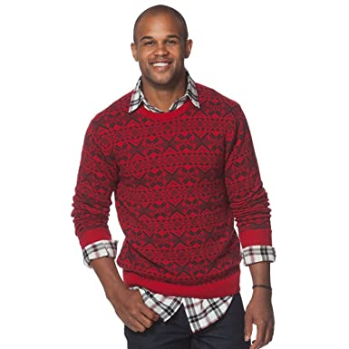 53d5ef558366 Chaps Mens Red Black Fair Isle Christmas Holiday Pullover Sweater at ...