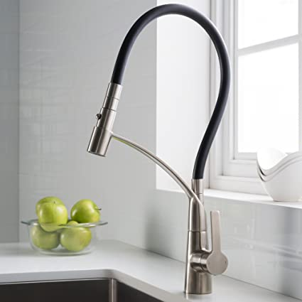 KRAUS CarboFlex Single Handle Dual Function Pull Out Kitchen Faucet with  Flexible Black Sprayer Hose and Easy-Clean Silicone Nozzles in Stainless ...