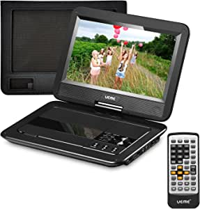 UEME Portable DVD CD Player, 10.1 Inches LCD Screen & Canvas Headrest Holder & Remote Control & Car Charger & Wall Charger, Personal DVD Players Built-in Rechargeable Battery (Black)