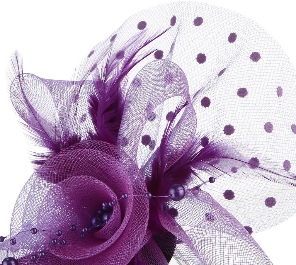 Taille unique, Bleu GEMVIE Chapeau Bibi Femme Fille Voile Plume Pince /à Cheveux Fleur Coiffure Mariage C/ér/émonie Cocktail Soir/ée