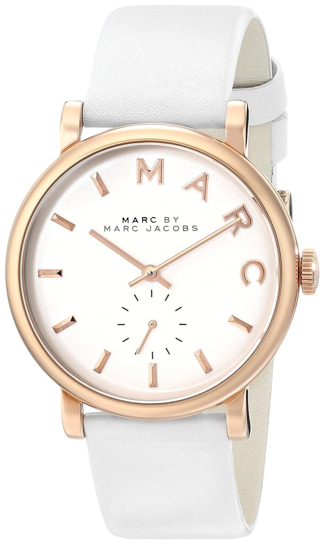 Marc Jacobs Damen-Armbanduhr 36mm Armband Kalbsleder Weiß GehÄuse Edelstahl Quarz Analog MBM1283