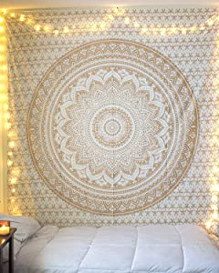 Jaipur Handloom Tapestry Wall hanging Hippie Mandala Bohemian Psychedelic tapestry wall hangings Hippie Wall Tapestries Dorm Decor Ombre((30 X 40 inches approx), Gold White ombre)
