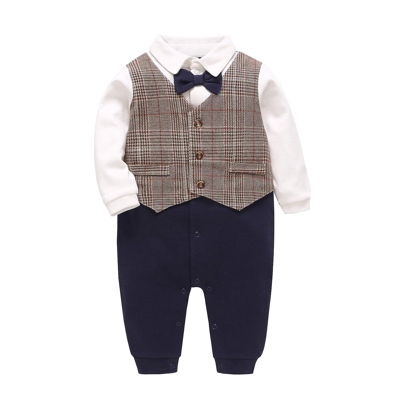 JanLEESi Baby Boy Long Sleeve Gentleman Outfit Onesies Infant Formal Tuxedo