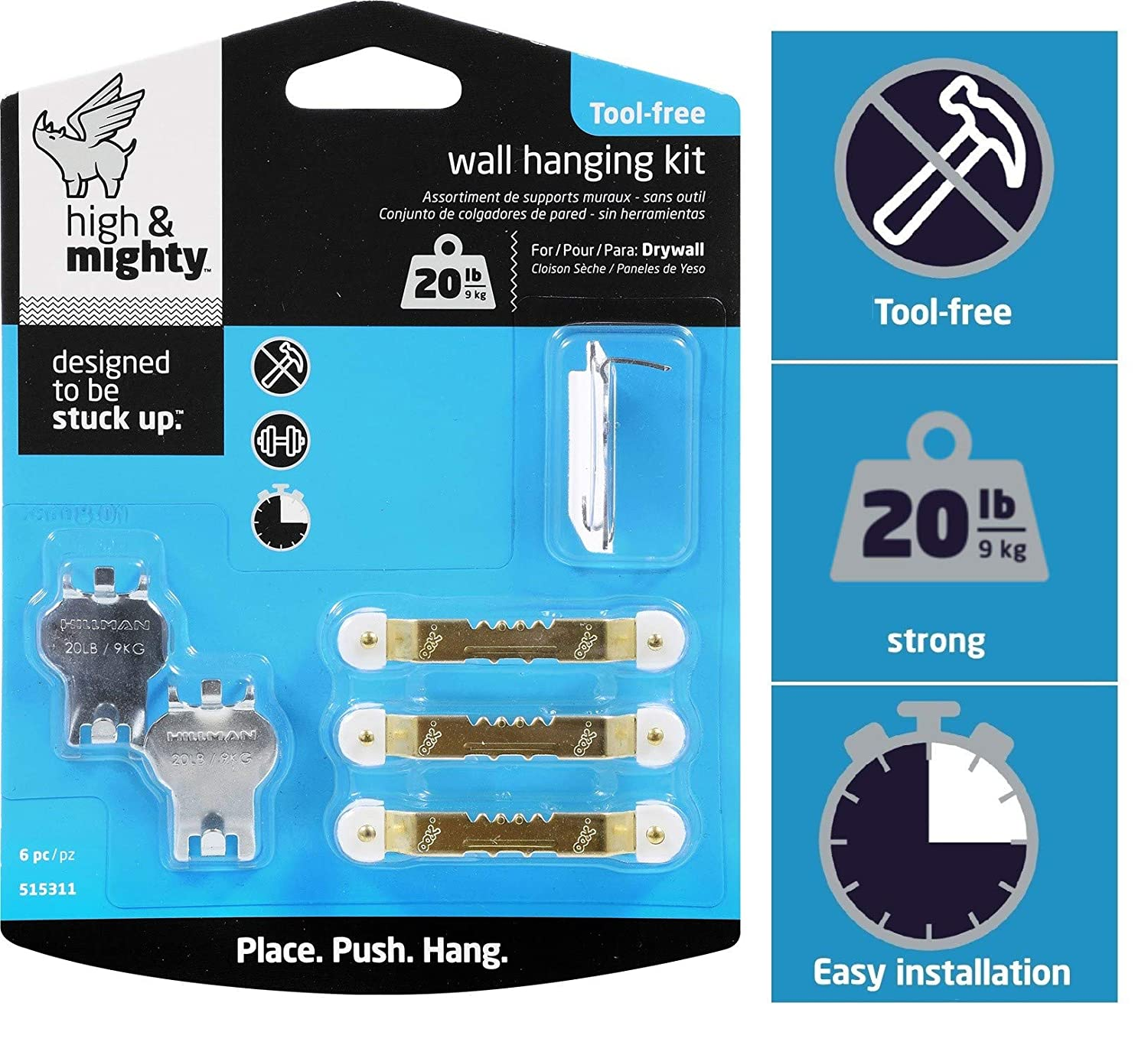 20LB Limit HIGH /& MIGHTY 515311 Tool Free Picture Hanging Kit 6 Pieces