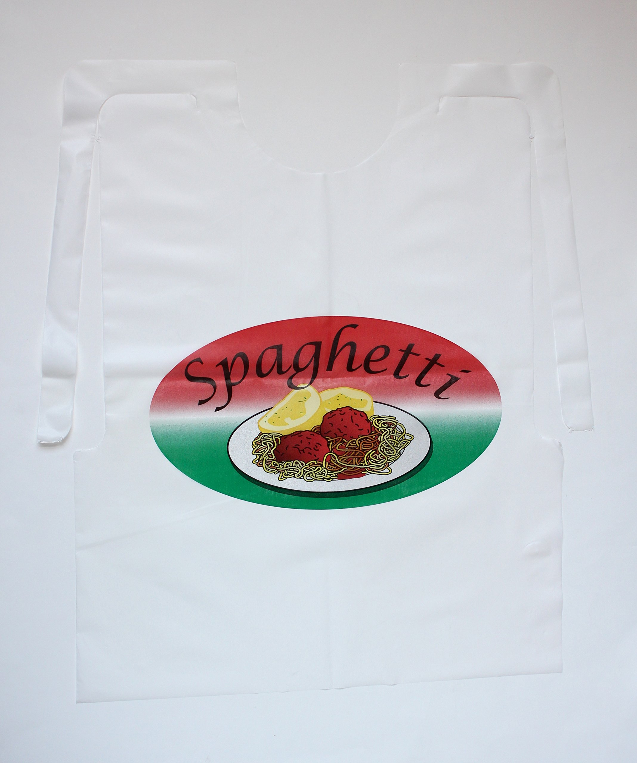 100 Pack Disposable Spaghetti Bibs with Meatballs