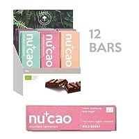 nucao Vegan Organic Superfood Bar – Macadamia Chai – Raw Nutritious Chocolate Based on Hemp Seeds & Raw Cocoa [Pack of 12 | Paleo Bar | Low Sugar | Plastic-Free]