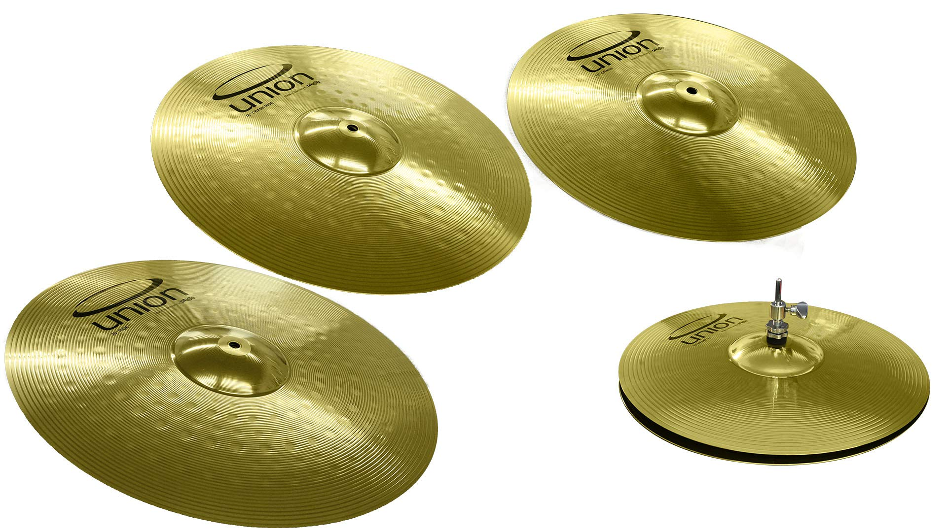 Union by by Paiste 5-Piece Brass Cymbal Set 14 inch Hi-Hats/16 Crash/18 Crash-Ride/20 inch Ride (OEMBEXKP)