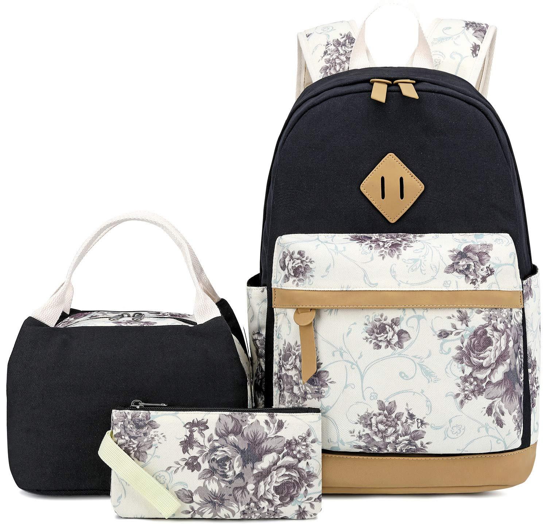 1dcb1778ad36 BLUBOON Canvas School Backpack Set 3 Pieces Lightweight Teen Girls Bookbags  Tote Bag Pencil Case (Black-flower)