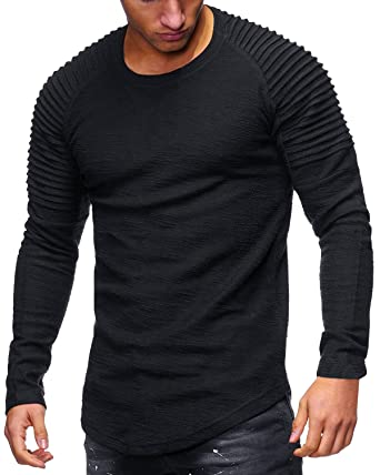 Amazon.com  Tutorutor Mens Long Sleeve T Shirts Slim Fit Muscle Ruched  Pullover Hipster Hip Hop Basic Tees  Clothing 7646ae2c7