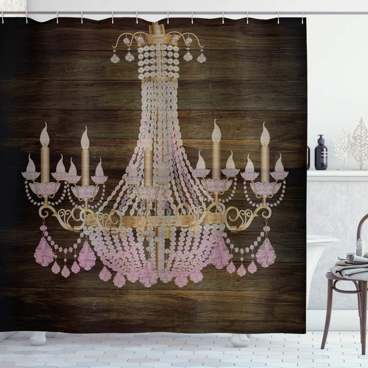 "Ambesonne Rustic Shower Curtain, Wooden Planks Pattern Background Crystal Chandelier Design Vintage Style Country, Cloth Fabric Bathroom Decor Set with Hooks, 70"" Long, Brown Pink"