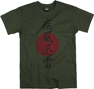 Camiseta color caqui con caligrafía japonesa, rayo (Shippu Jinrai): Amazon.es: Ropa y accesorios