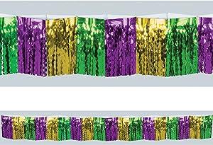 Beistle Metallic Plastic Fringe Drape Hanging Decoration, Mardi Gras Party Supplies, Gold/Green/Purple