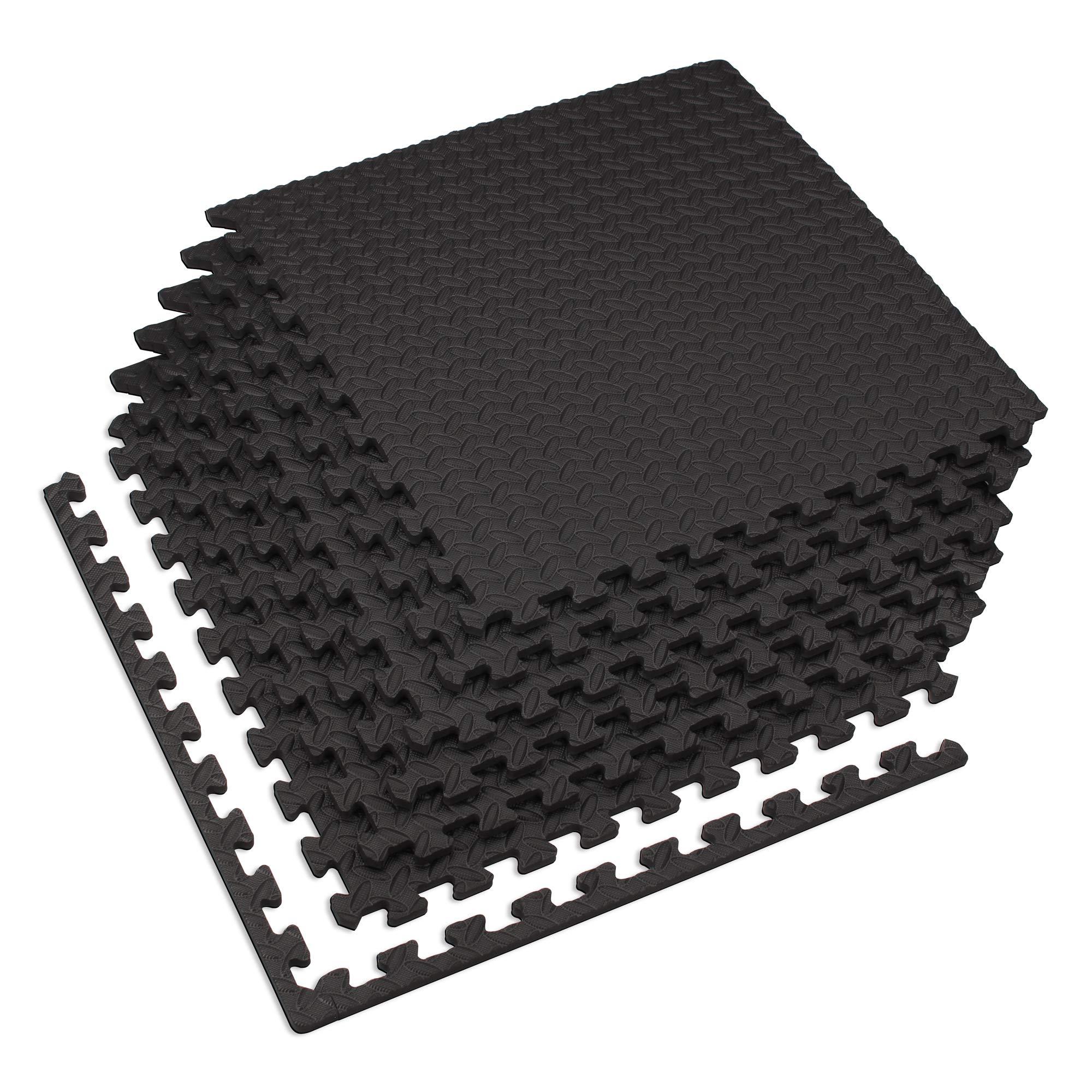 Velotas Black, 100 sq' (25 Tiles) Black 1/2'' Thick Interlocking Foam Fitness Mat