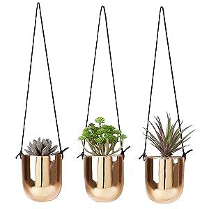 Metallic Copper-Tone Ceramic 4 Inch Hanging Succulent Planters, Set of 3